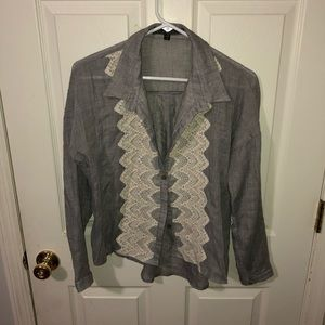 Love Stitch Small Button Up Gray Shirt and Lace